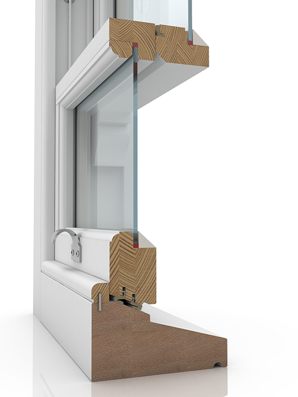 Image showing the inner structure of Sash Renovation 4 & Staff Bead SBD, a wood window.