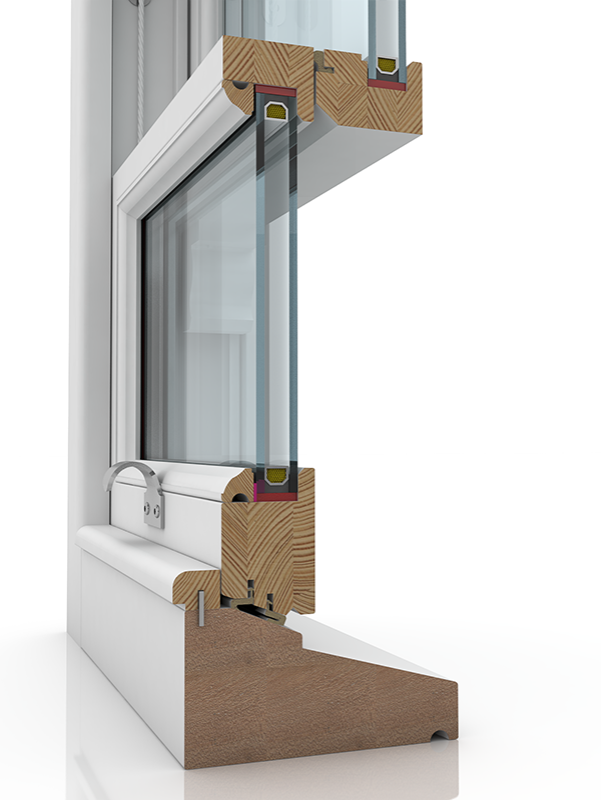 Image showing the inner structure of Sash Standard 4-12-1 Lamb & Staff Bead Wyst, a wood window.