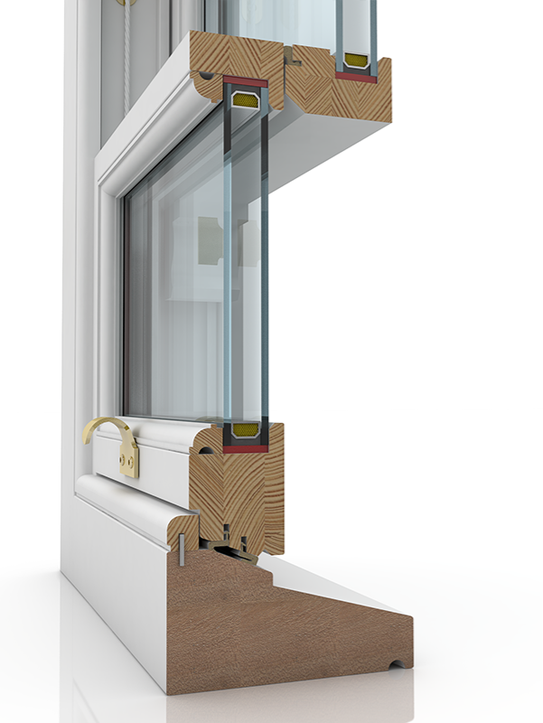 Image showing the inner structure of Sash Standard Plus Ogee & Staff Bead SBD, a wood window.