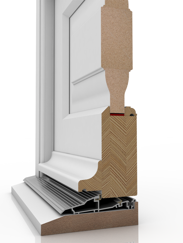 Image showing the inner structure of French Door 3 BP & SUBCIL, a wood door.