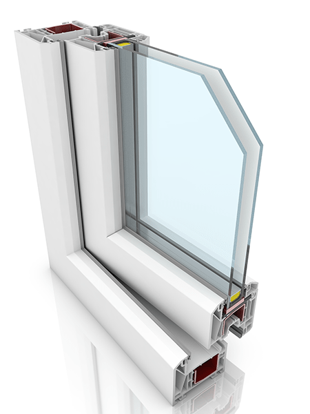 Front profile of KBE 70, a uPVC window.