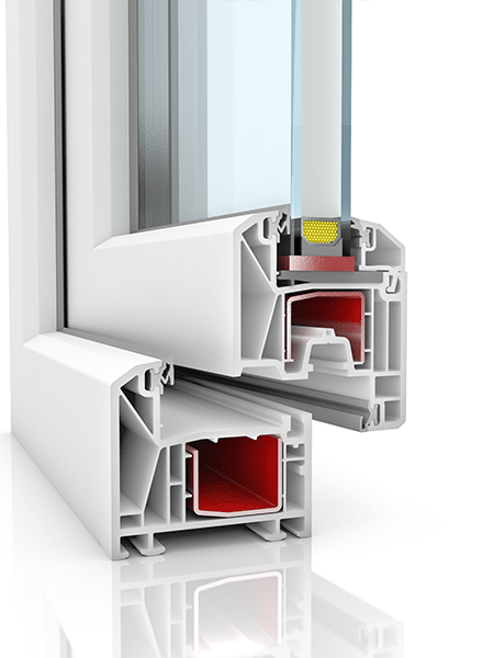 Image showing the inner structure of KBE 70, a uPVC window.