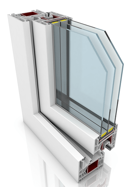 Front profile of Kommerling 76MD, a uPVC window and/or door.