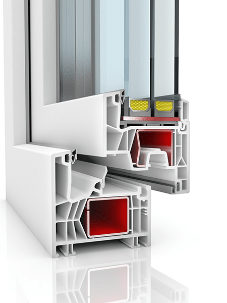Image showing the inner structure of Kommerling 76MD, a uPVC window and/or door.