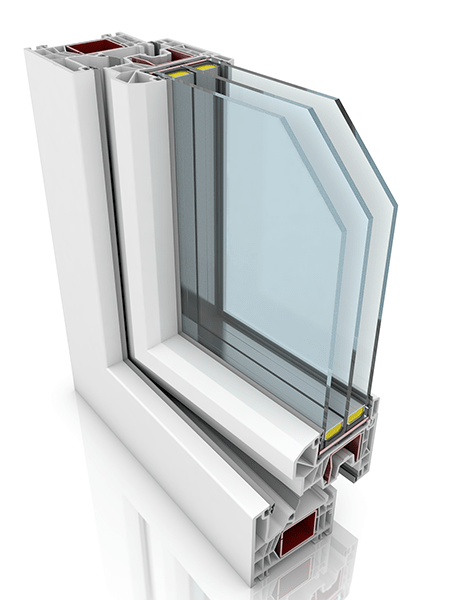 Front profile of Kommerling 76MD+, a uPVC window and/or door.