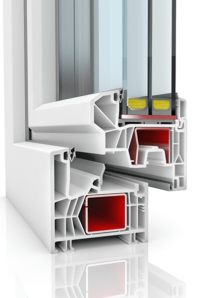 Image showing the inner structure of Kommerling 76MD+, a uPVC window and/or door.