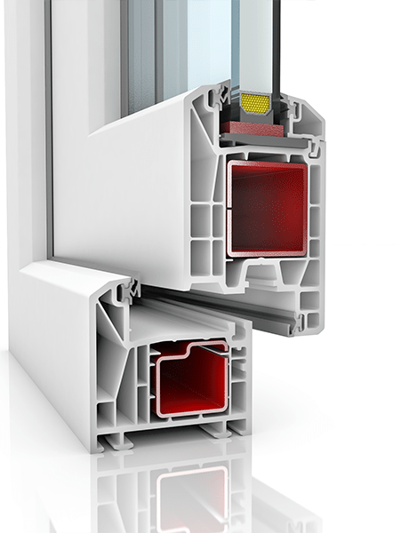 Image showing the inner structure of KBE 70AD WER1, a uPVC door.