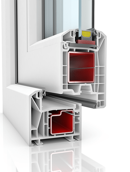 Image showing the inner structure of KBE 70AD WER2, a uPVC door.