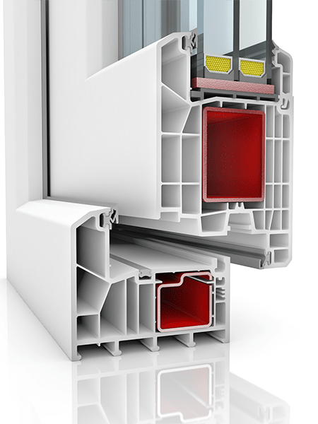 Image showing the inner structure of KBE 88AD WER1, a uPVC door.