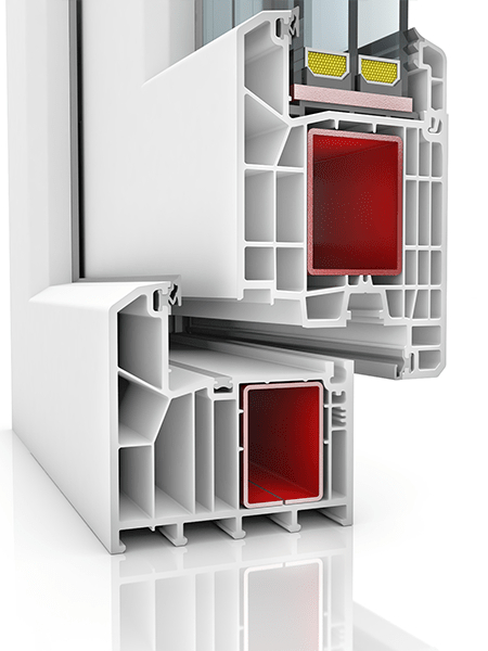 Image showing the inner structure of KBE 88AD WER2, a uPVC door.