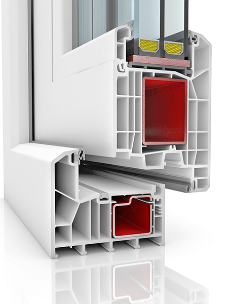 Image showing the inner structure of KBE 88AD WER3, a uPVC door.
