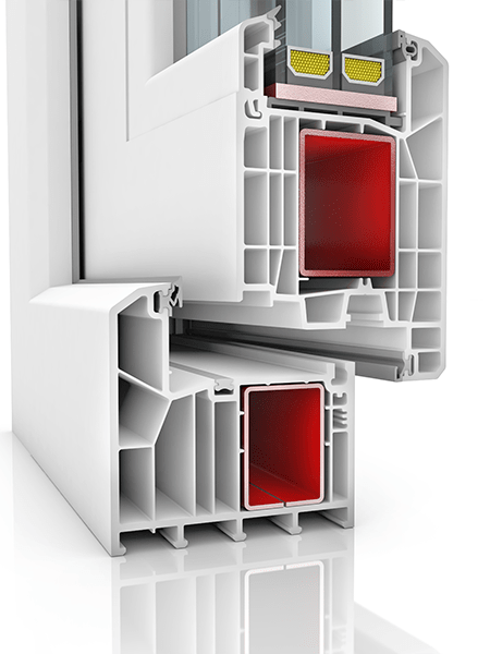 Image showing the inner structure of KBE 88AD WER4, a uPVC door.