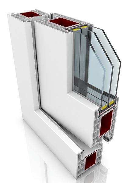 Front profile of Kommerling 76AD WER1, a uPVC door.