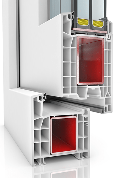 Image showing the inner structure of Kommerling 76AD WER1, a uPVC door.