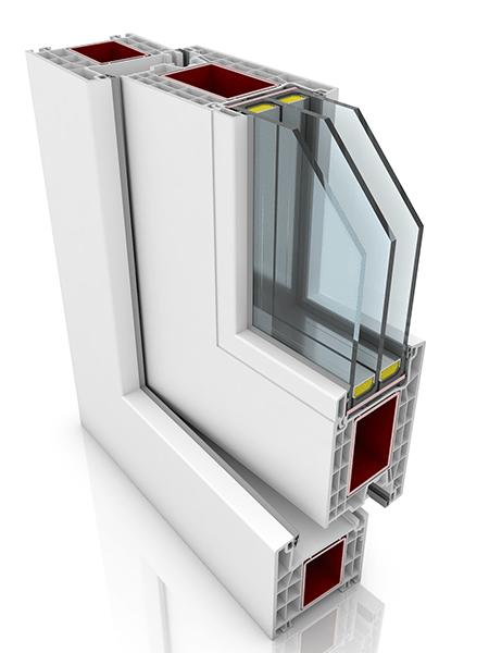 Front profile of Kommerling 76AD WER2, a uPVC door.