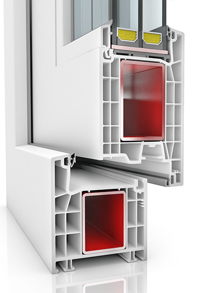 Image showing the inner structure of Kommerling 76AD WER2, a uPVC door.