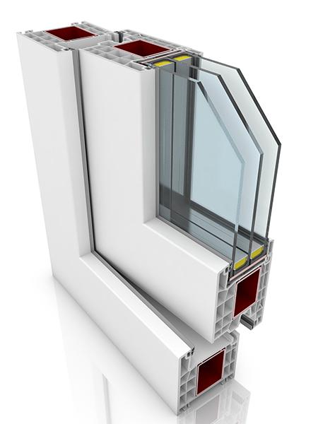Front profile of Kommerling 76AD WER3, a uPVC door.