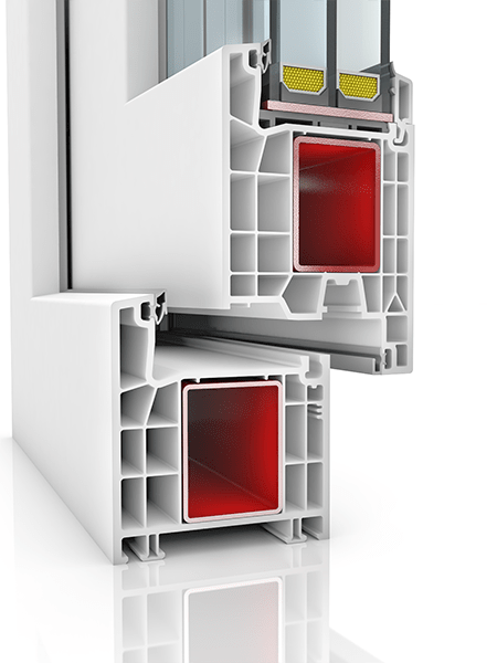 Image showing the inner structure of Kommerling 76AD WER3, a uPVC door.