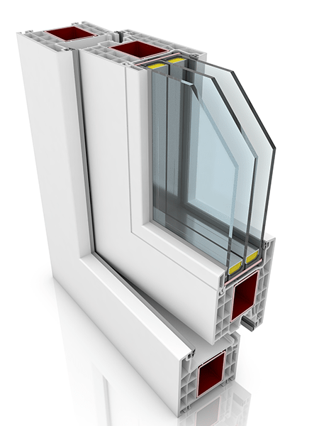 Front profile of Kommerling 76AD WER4, a uPVC door.