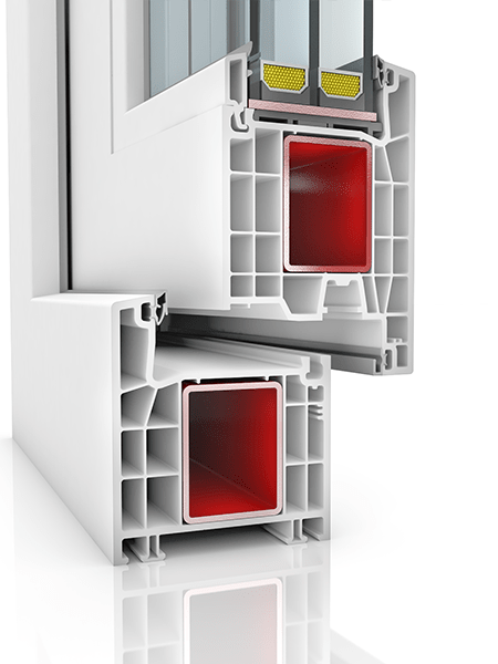 Image showing the inner structure of Kommerling 76AD WER4, a uPVC door.