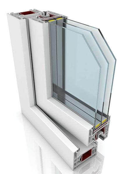 Front profile of Kommerling 76AD, a uPVC door.