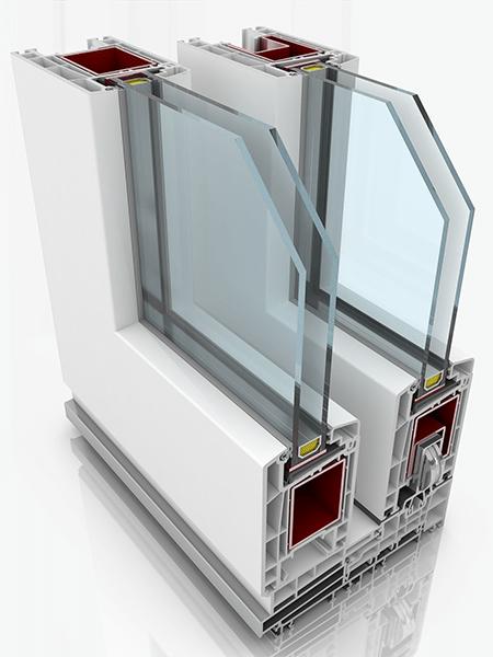 Front profile of Sliding Door HST 70, a uPVC door.