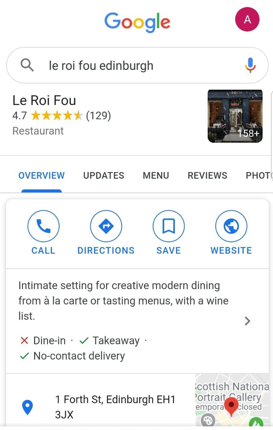 Le Roi Fou SERP Google My Business