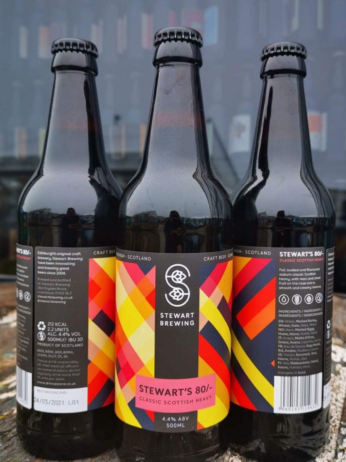 Three beer bottles from Stewart Brewing