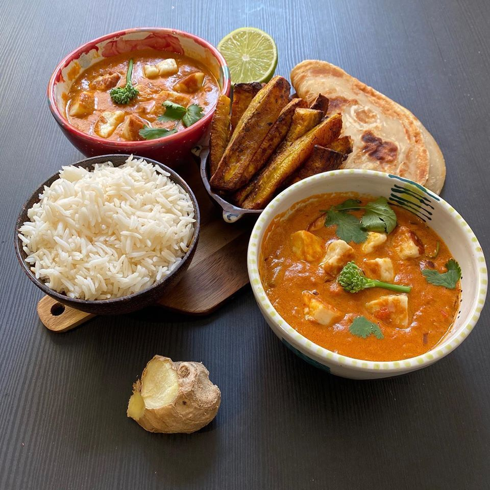 Kenyan curries, rice, flatbread, ginger, lime, plantains