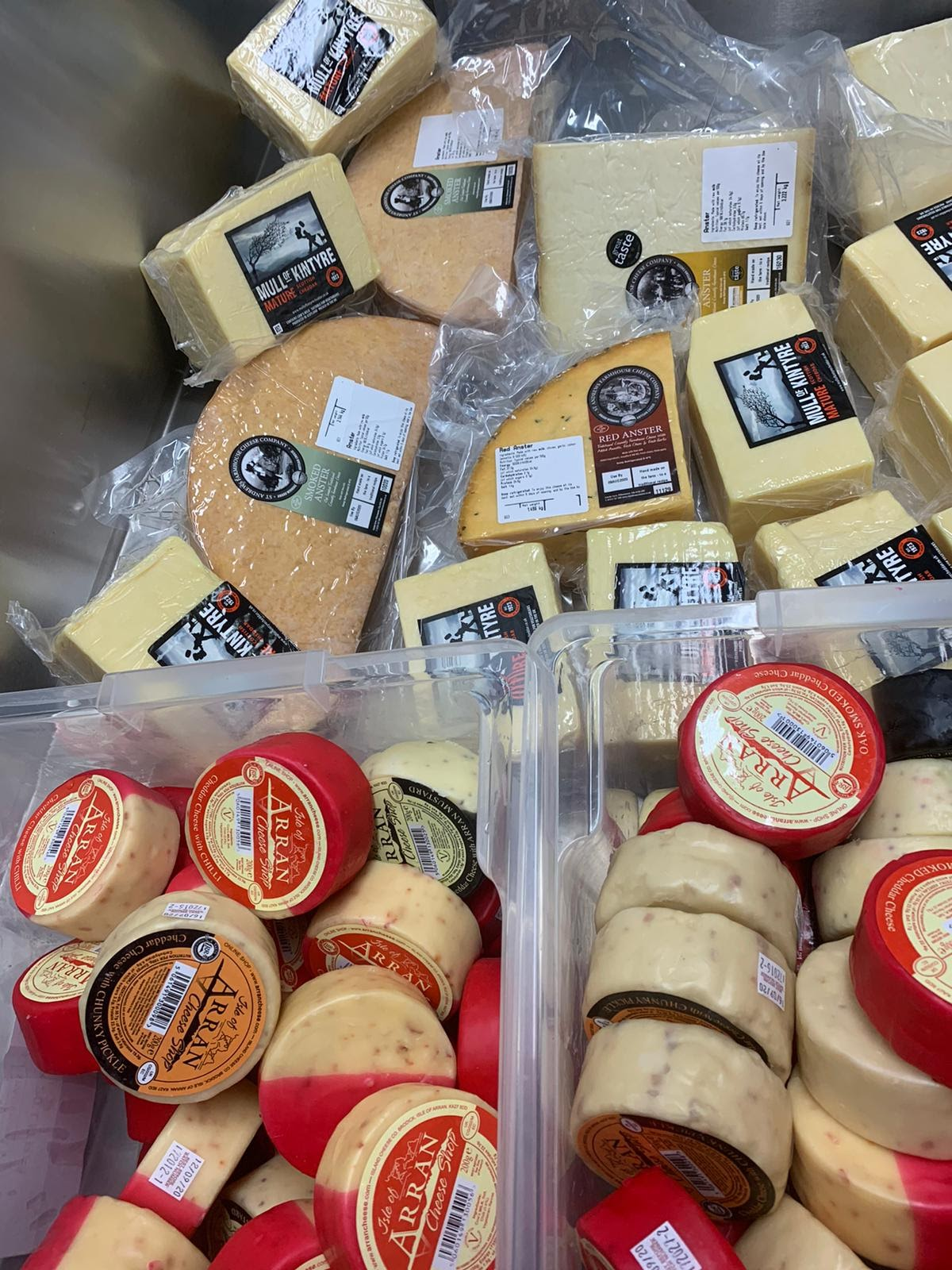 A huge pile of Scottish cheese