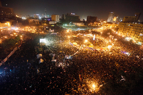 Hundreds of thousands rally in Tahrir Square, Egypt in 2011.