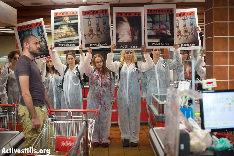 Activists with 269life converged in a grocery store to show the world that meat is not food. It's a violent crime.