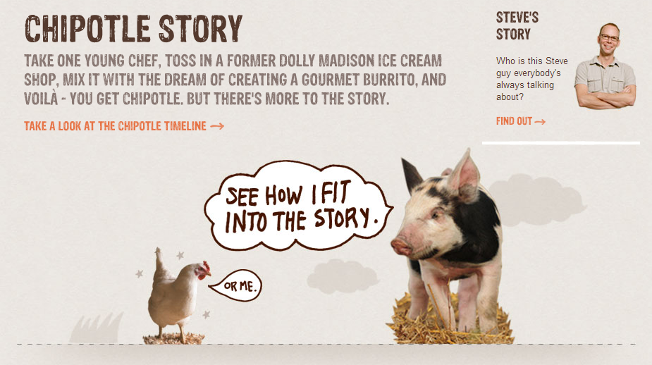 In Chipotle's story, all the animals are safe and happy.
