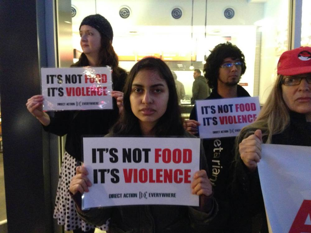 Activists at a recent Chipotle protest in San Francisco.