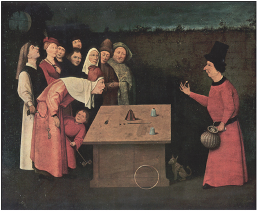 The Conjurer by Hieronymus Bosch. While a magician performs, pickpockets steal the audience's belongings.
