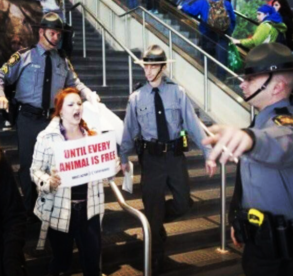 Activist Rachel Ziegler, surrounded by police, demonstrates powerfully at the Pennsylvania Farm Show.