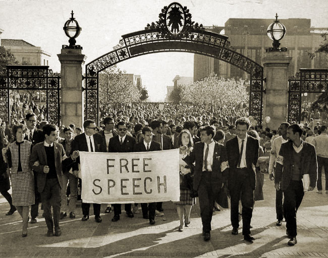 Mario Savio leads a free speech march through UC Berkeley's Sproul Plaza