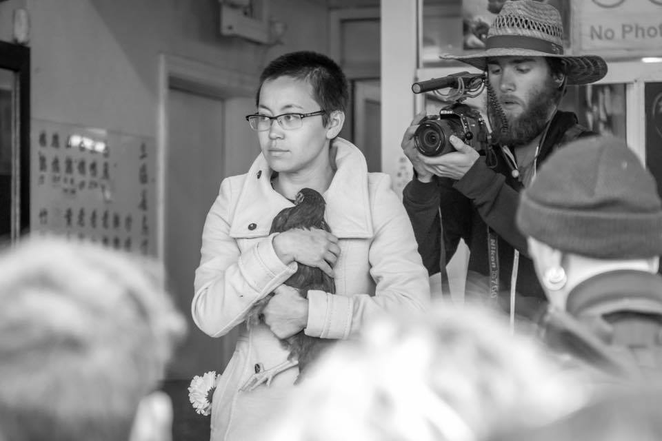 Hana Low rescues a bird from the slaughterhouse as Aidan Cook films. Photograph by Alex Bez.