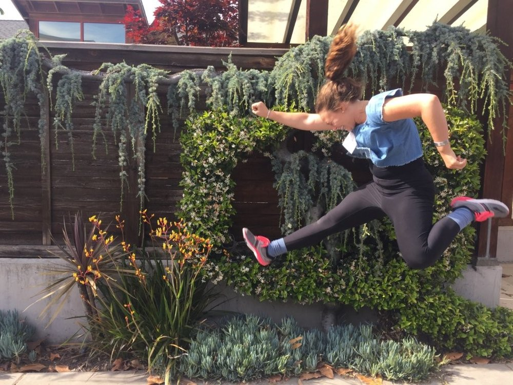Calen Otto jumping for joy! A.K.A., for animal liberation