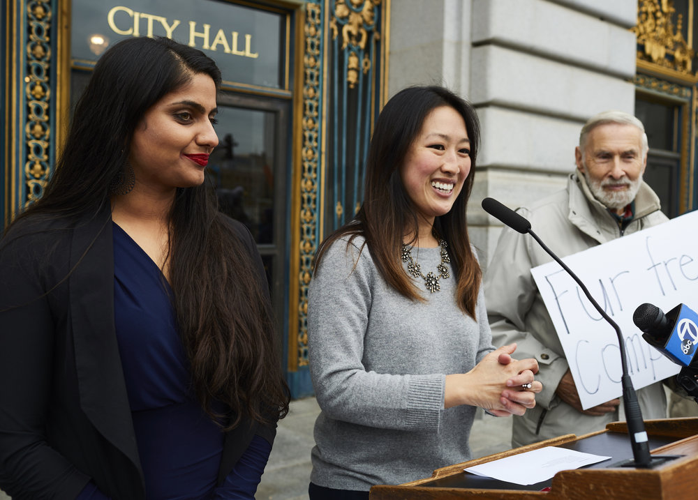 S.F. Board of Supervisors member Katy Tang (center) speaks at fur rally with DxE organizer Priya Sawhny (left) and IDA's Dr. Elliot Katz (right). Photo by Michael Goldberg