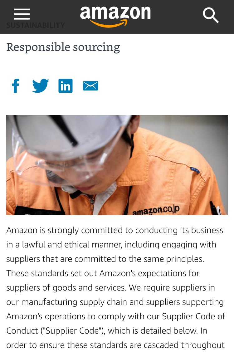 Amazon's claims of responsible sourcing.