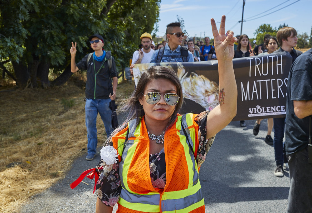 Activists march towards Amazon-owned Whole Foods in Petaluma, CA. Photo by Michael Goldberg