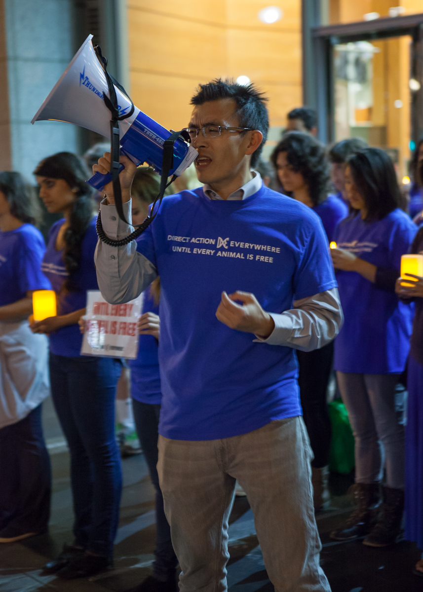 Wayne Hsiung at a Direct Action Everywhere (DxE) protest