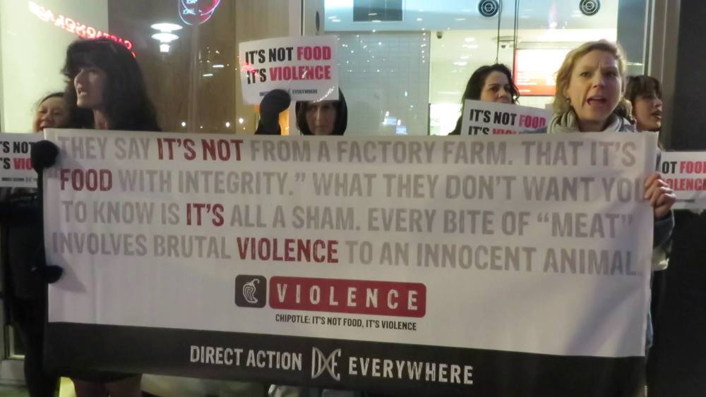 Protesters at a Chipotle in San Francisco.