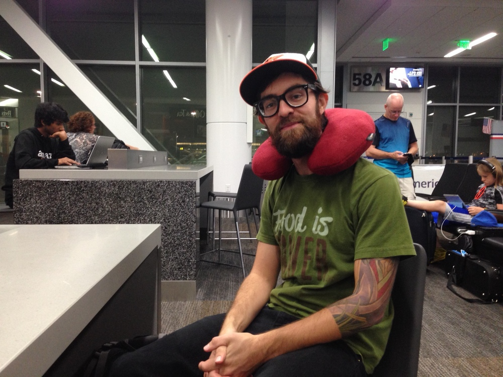 My co-organizer Ronnie, ready for the red eye flight.
