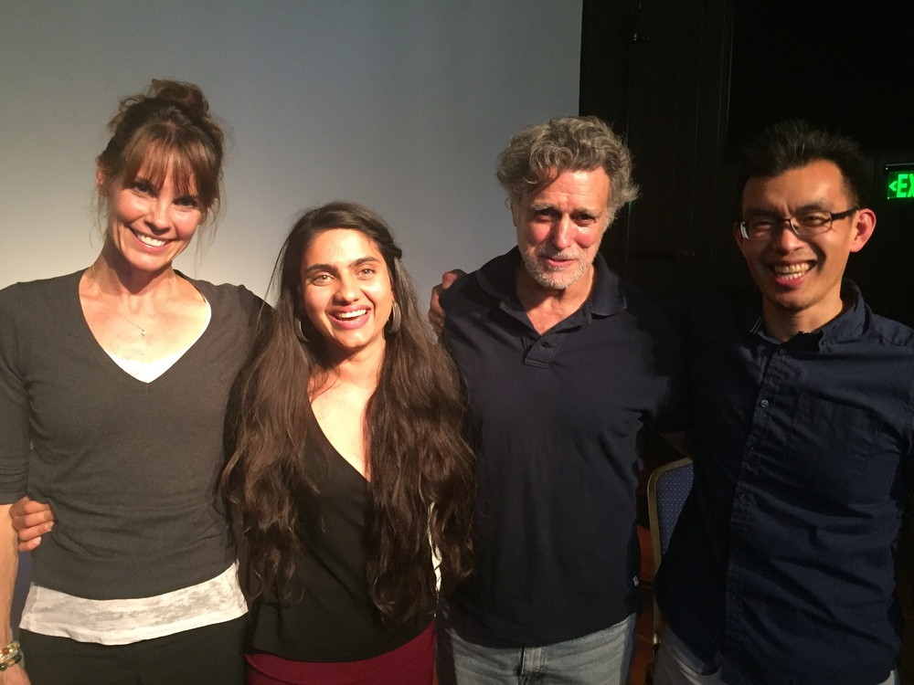 Alexandra Paul, DxE organizer Priya Sawhney, Last Chance for Animals' Chris DeRose and DxE co-founder Wayne Hsiung following Open Rescue Panel at DxE's 2016 Forum.