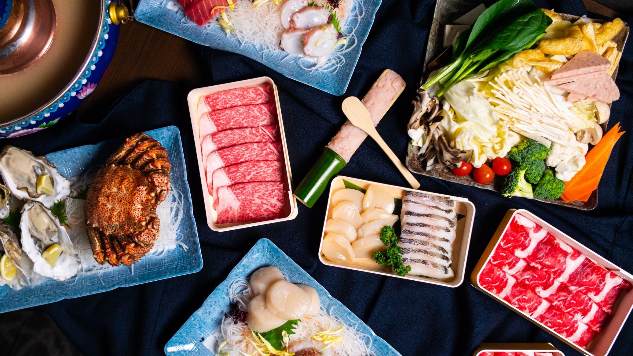 Aerial food shot of shabu shabu.