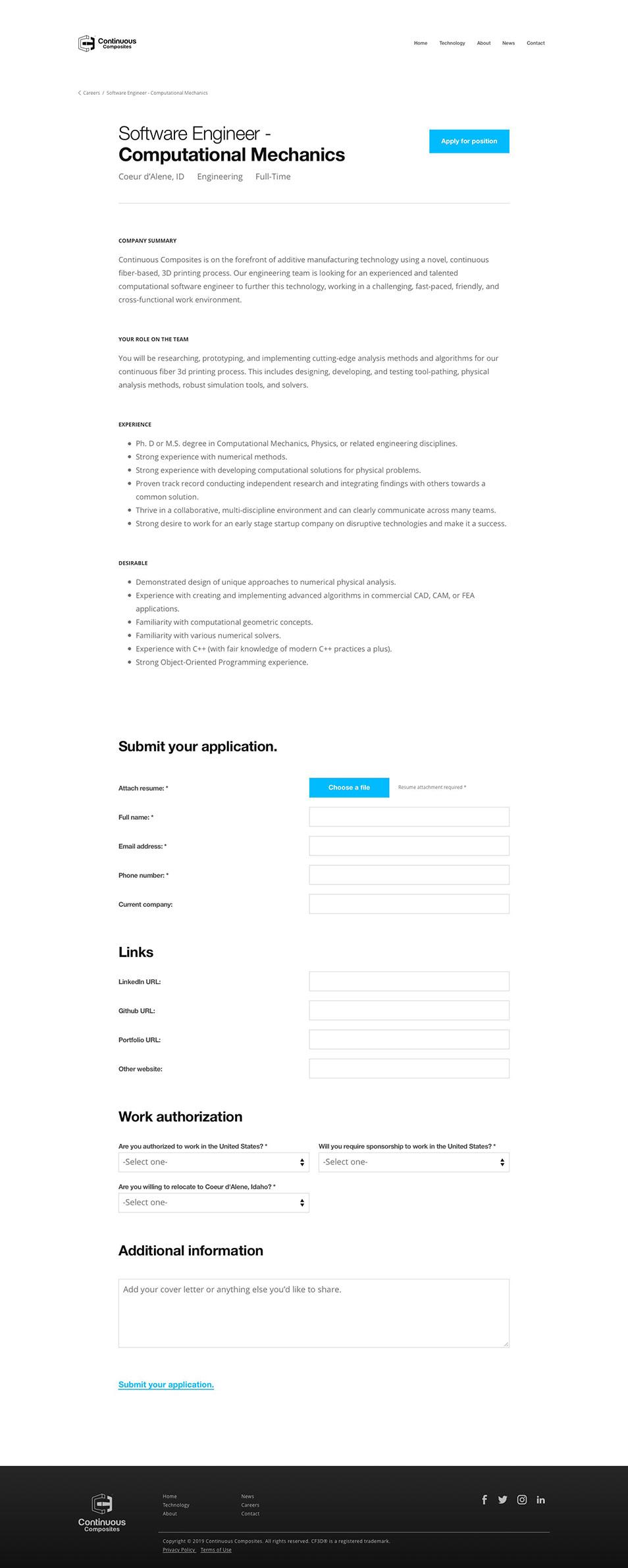Desktop view of jobs details page