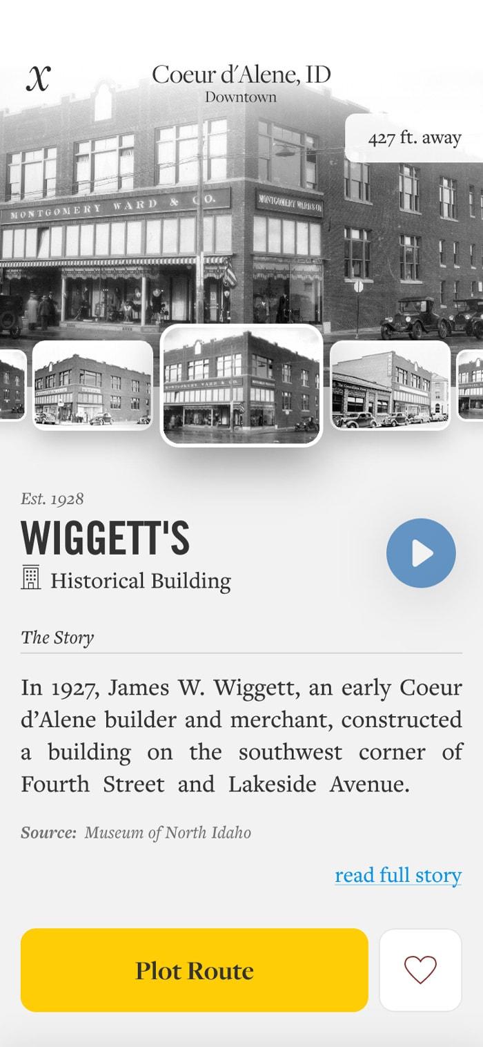 Wiggett's building history card