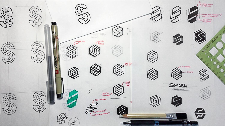 Smash logo sketches